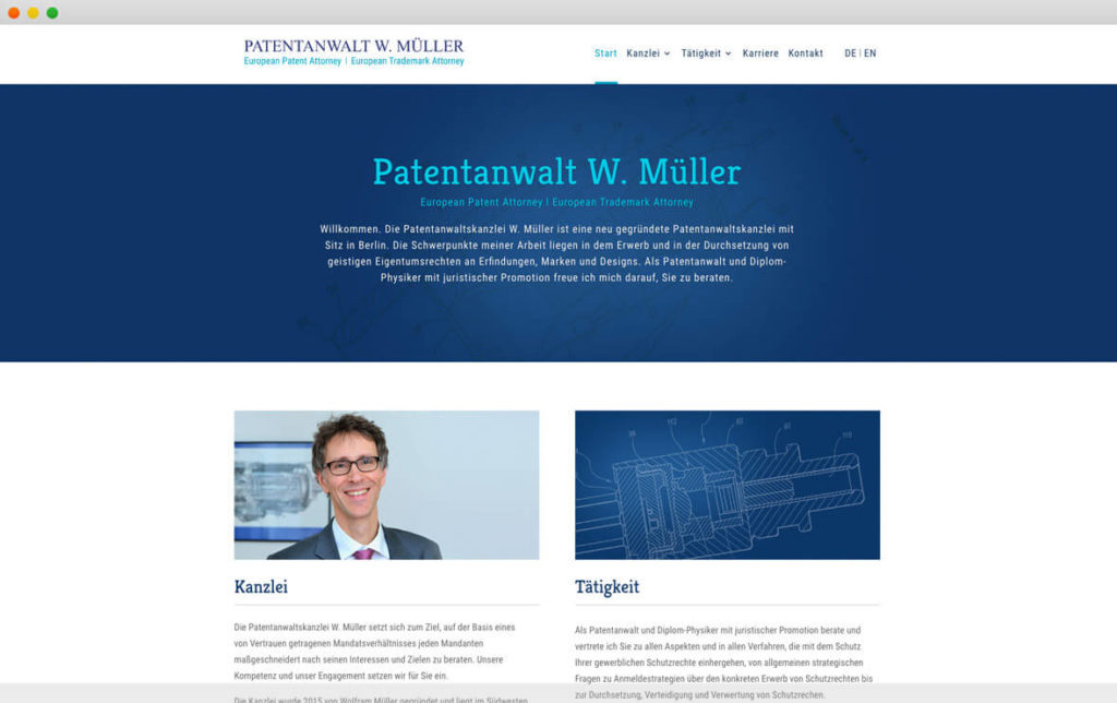 Screenshot Patentanwalt Müller