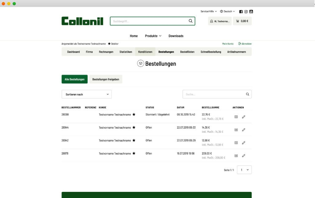 Screenshot Collonil Fachhändler-Portal